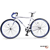 GTM 700C Single Speed Road Bike Aluminum Racing Bicycle , White Blue