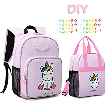 mommore Cute Unicorn Kids Backpack with Insulated Lunch Bag for Boys/Girls,Purple