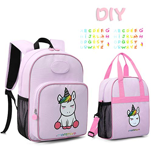 mommore Cute Unicorn Kids Backpack with Insulated Lunch Bag for Boys/Girls,Purple ()