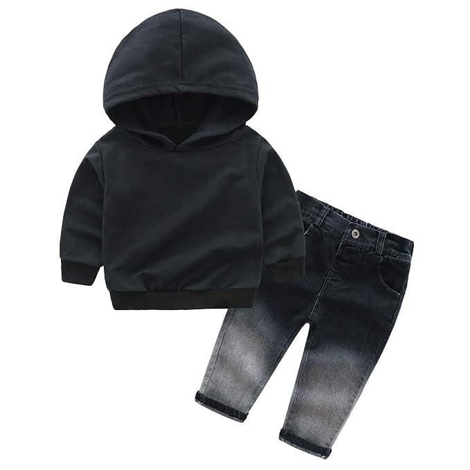Amlaiworld Infantil Recién Nacido Bebé Niños niñas Sudadera con Capucha Camisetas Camisas y Estampado de Letras y Pantalones de Mezclilla Conjuntos: ...