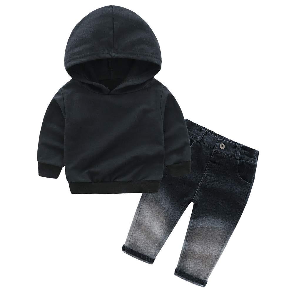 Fartido Infant Baby Boys Girls Letter Print Hooded Tops + Denim Pants Outfits Set (12 Months)