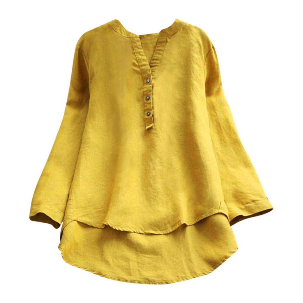 Feitengtd Women Long Sleeve Casual T-Shirt Elegant Loose Fit Flowy Casual Tunic Tops Blouse (3XL, Yellow)