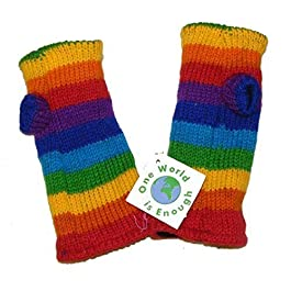 One World is Enough Hand Knitted Fleece Lined Fair Trade 100% Wool Rainbow Coloured Wrist Warmers/Arm Warmers (Wristies)