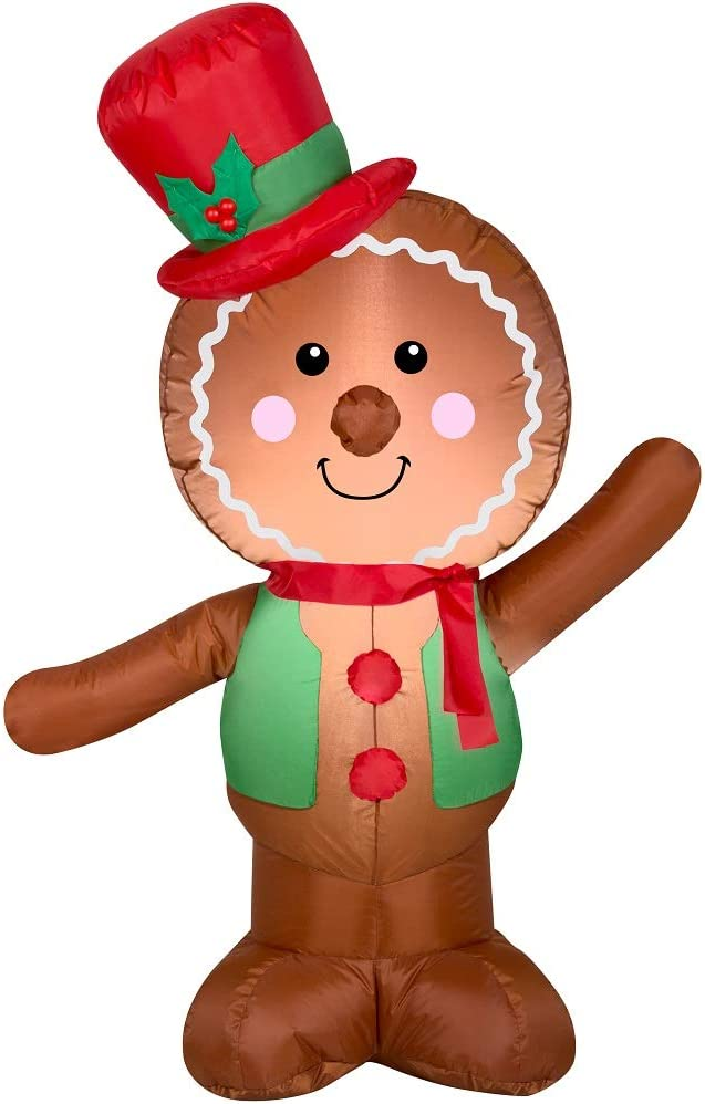 Amazon Com Holiday Time Christmas Inflatable Led Gingerbread Man Airblown Decoration By Gemmy Simple Garden Outdoor