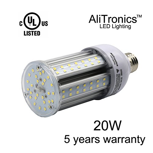 AliTronics 20w Led Corn Bulb,Super Bright 2100 lumen,5 years warranty,Replace CFL 100w or HID bulb 90w ,5000k White, Ac100-277v , Used in Outdoor Post Top,Wall Light,Bollard,garden Light