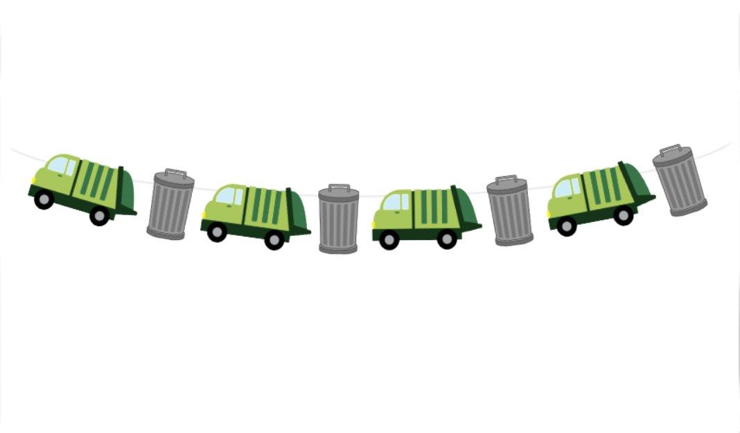Garbage Truckガーランド、Garbage Truck、バナーGarbage Truck装飾、Garbage Truck誕生日   B01N6R9490