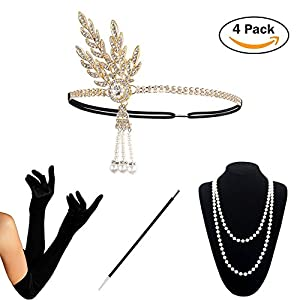 HAMIST 1920s Accessories Set Flapper Costume (2017 New Design) for Women (S4-HAGold)