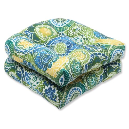 Pillow Perfect Outdoor Omnia Lagoon Wicker Seat Cushion, Set of 2 ()