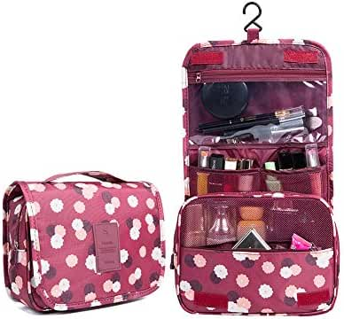 Huluwa Toiletry Bag Multifunction Cosmetic Bag Portable Makeup Pouch Waterproof Travel Hanging Organizer Bag for Women Girls, Wine Flowers