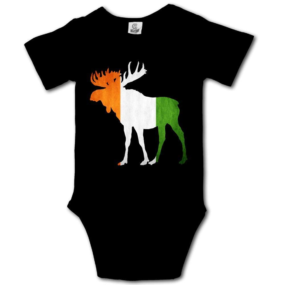 HFJFJSZ Moose Animal Irish Flag Short Sleeve Baby Bodysuit Onesies