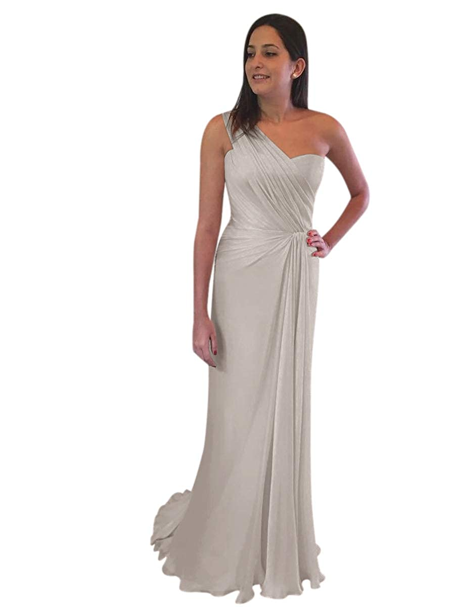 ElenaDressy Womens One Shoulder Bridesmaid Dress 2019 Long Wedding Evening Gown