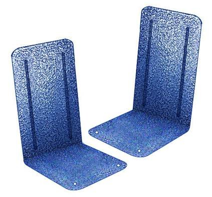 (Acrimet Premium Metal Bookends Metallic Finishing (Heavy Duty) (Blue Platinum) (1 Pair))