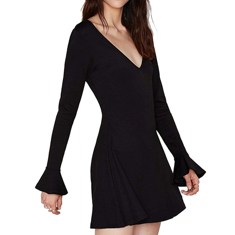 iPretty Ladies Sexy Stylish Bodycon Dress Long Sleeve V Neck Mini Dress for Women
