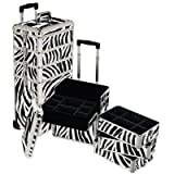 Seya 4 in 1 Rolling Makeup Case w/ Removable Tiers and Adjustable Dividers (Zebra)