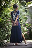 Dark Navy Blue Kaftan Dress, Boho Moroccan Caftan, Ethnic Embroidery Maxi Dress, Hippie Abaya Oversize Women's Dress