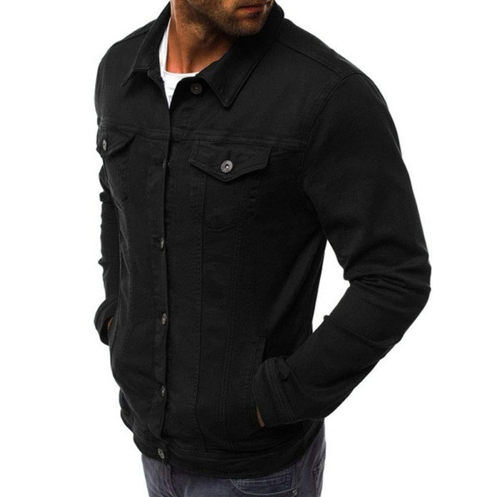 Zoeys DreamHouse Men Fashion Button Down Trucker Vintage Denim Jacket Autumn Winter Coat