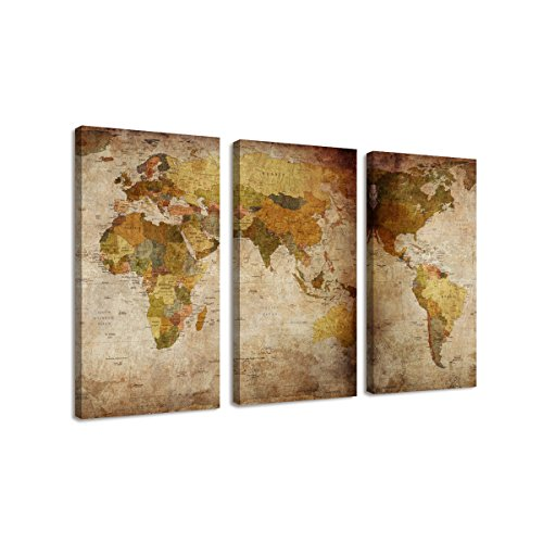 BIL-YOPIN 3 Panels Large Canvas Printing Retro Abstract World Map Wall Art Painting giclee canvas prints for Home Decor … by BIL-YOPIN