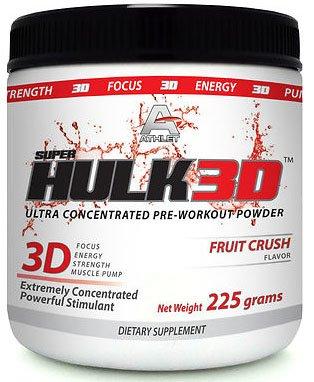 ATHLET SUPER HULK3D pré-entraînement POUDRE 225 GR. FRUIT CRUSH-FOCUS-ENERGY-POMPE