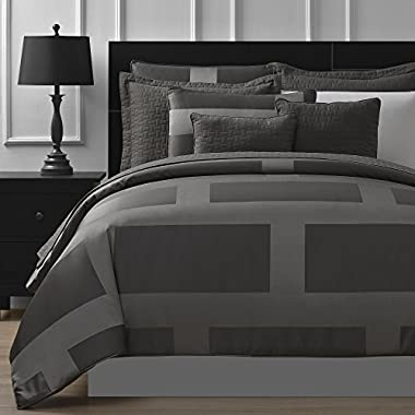Comfy Bedding Frame Jacquard Microfiber 5-Piece Comforter Set (Queen, Gray)