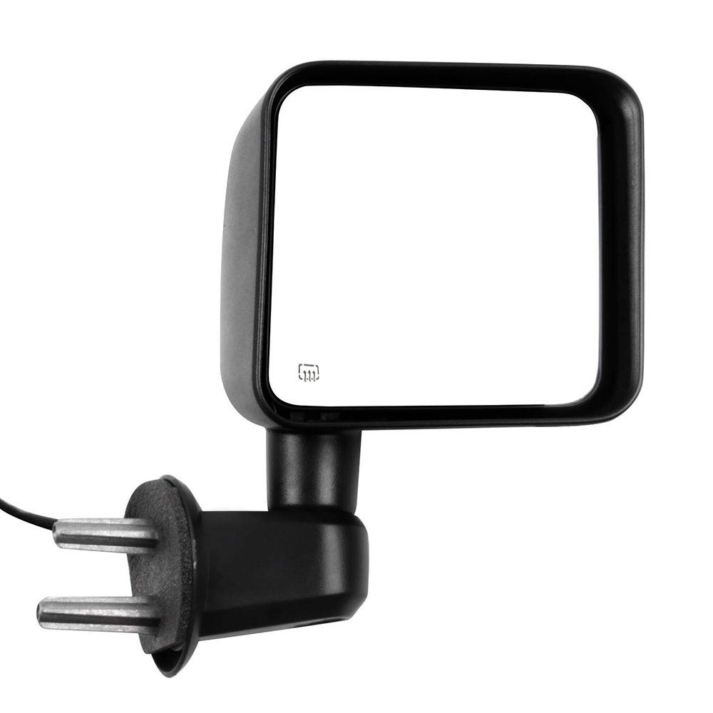 LSAILON Right Side Mirror Passenger Side Mirror Fits for 2007-2017 Jeep Wrangler Manual Folding Power-Heated CH1321390