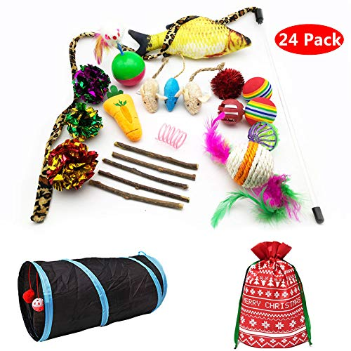 (PetFavorites Cat Toys Variety Pack Assorted Kitten Toys Value Pack - Springs, Mouse, Interactive Feather Wand, Crinkle Balls, Catnip Fish, Kitty Chew Toys, Tunnel - Best Gift Set for Christmas)