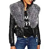 Fall Winter Blouse,Morecome Women Unique Fashion Plus Size Solid Long Sleeve Fur Neck Zipper Pockets Coat Jacket