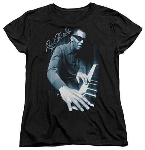 Womens: Ray Charles - Blues Piano Ladies T-Shirt Size M