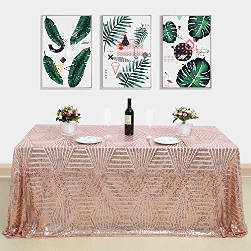 B-COOL Fabulous Rose Gold Geometric Tablecloth Sequin Embroidered Table Overlay for Party Cake Dessert Table Exhibition Events 60x102inch