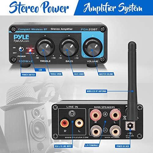 Bluetooth HiFi Mini Audio Amplifier – Class D Digital Desktop PC Stereo Amplifier Receiver (2 x 100 Watt MAX) Aluminum Diecast- Pyle PDA20BT 51dFnW0jJBL