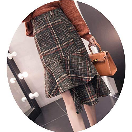 (Anti Season Autumn Winter Plaid Skirts Women High Waist Asymmetrical Ruffles Wool Skirt,Medium,Green)