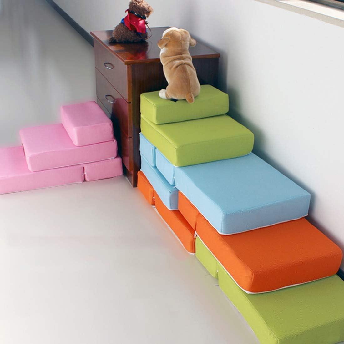 Zhyaj Escaleras para Perros Cama Perro Grande Rampa para Perros Alta Malla Transpirable Perro Escalera Escaleras Plegables Lavado Desmontable Asegurar la Salud y Seguridad del Perro en Uso 2PCS,C: Amazon.es: Hogar