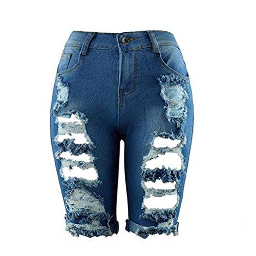 Casual Di Ashop Pantaloncini Donna Skinny Jeans Bermuda Blu Stirata Da Slim Denim Distrutti Strappati 844dqgax