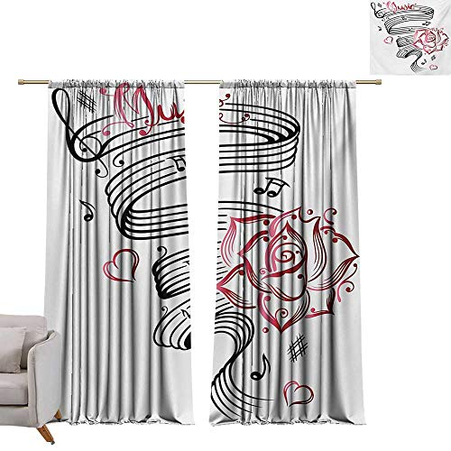 DESPKON-HOME Curtain Backdrop,Tattoo Language of Love Valentines Musical Inspiration on Sheet with Rose Hearts Top Darkening Curtains (72W x 63L inch,White Black and Pink)