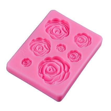 Molde de silicona líquido para fondant de 7 mini rosas