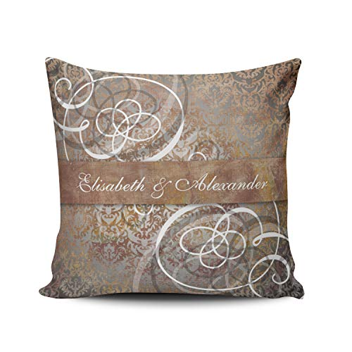 (Fanaing Gold Elegant Tuscan Damask Newlywed Wedding Gift Pillowcase Home Sofa Decorative 16X16 Inch Square Throw Pillow Case Decor Cushion Covers One-Side Printed)