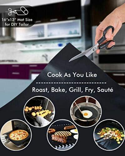 Aexit Tapis de Cuisson pour Barbecue et Four, Tapis de Barbecue, Tapis Grill Barbecue, Antiadhésif, Durables, Réutilisables et faciles à Nettoye, Parfait pour BBQ et Four 3PACK