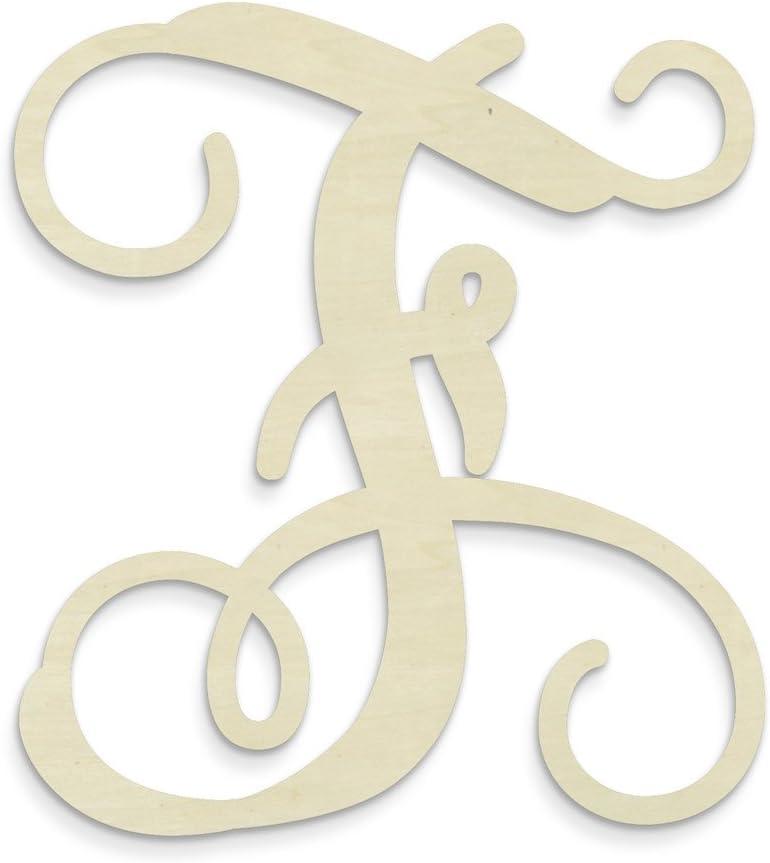 UNFINISHEDWOODCO Single Vine Unfinished Monogram F Decorative Letter, 13-Inch