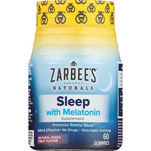 Zarbee's Naturals Adult Sleep Gummies with 3 mg of Melatonin per Gummy, Natural Mixed Fruit Flavor, 60 Gummies
