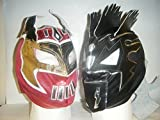 RED SIN CARA AND BLACK KALISTO - CHILDRENS ZIP UP MASKS by WRESTLING MASKS UK