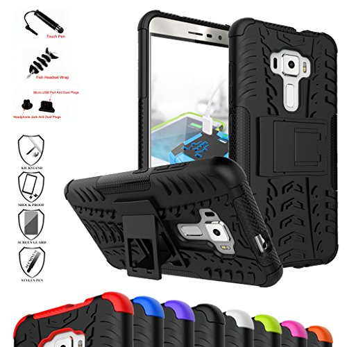 Telephone Accessories Packaged - ZenFone 3 Case,Mama Mouth Shockproof Heavy Duty Combo Hybrid Rugged Dual Layer Grip Cover with Kickstand for Asus ZenFone 3 ze552kl Smartphone(with 4 in 1 Packaged),Black