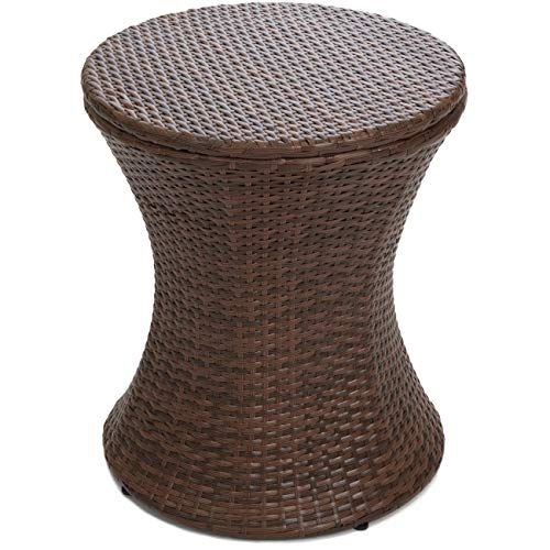 Best Choice Products 7.5-Gallon Outdoor All-Weather Wicker Patio Pool Cooler Bar Table w/Adjustable Top - Brown by Best Choice Products (Image #1)