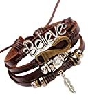 Young & Forever Boy's Mentastic Beads Believe Leaf Charm Multi-Strand Leather Bracelet