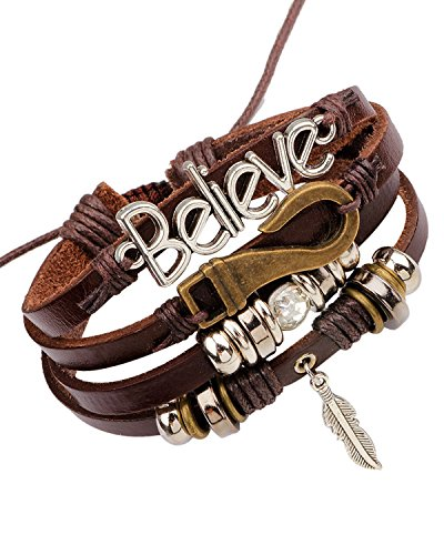 Young & Forever Boy's Mentastic Beads Believe Leaf Charm Multi-Strand Leather Bracelet by Young & Forever