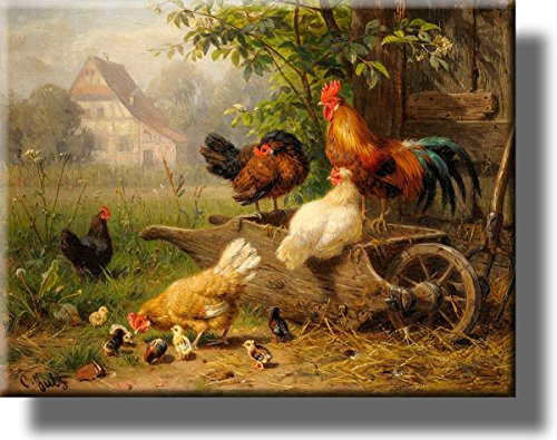 "Chicken on Wheelbarrow Picture on Stretched Canvas, Wall Art Décor, Ready to Hang! (14"" x 18"")"