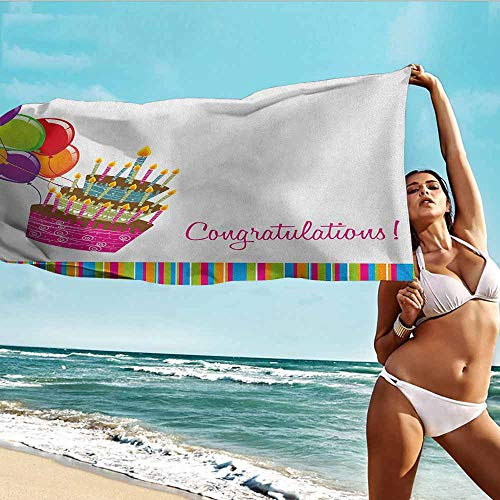TT.HOME Baby Towel,Birthday Pink Written Congratulations Graphic Cake Candles Balloons Birthday Art Print,Soft Fast Drying Travel Gym Washcloths,W55x27L, Multicolor ()