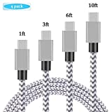USB Type C Cable, Daker 4pack 1ft 3ft 6ft 10ft Braided Nylon USB C to USB 3.0 High Durability Fast Charging PowerLine for Galaxy Note 8, S8, S8 Plus/S8 Active/LG G6 V20 G5/Google Pixel/Nexus 6P(4pack)