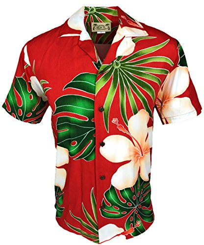 E&K Fashion Tropical Luau Beach Print Rayon Men's Hawaiian Aloha Shirt
