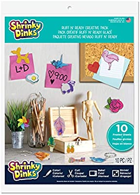 Shrinky Dinks Shrinkable Plastic Frosted Ruff N/' Ready Creative Pack 10 Sheets