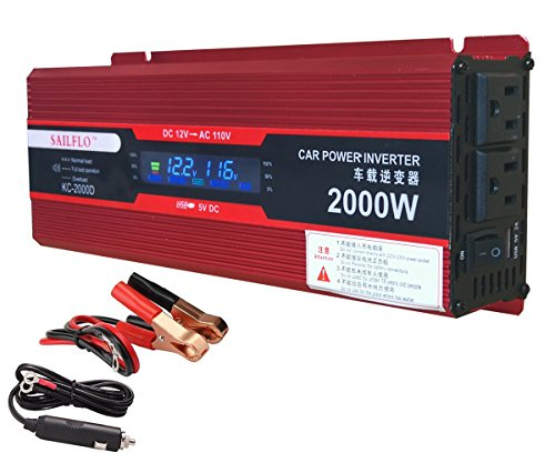 2000W (1000 watts continuous ) Power Inverter for Home Car RV with 2 AC Outlets Power Converter 12V DC to 110V AC Inverter