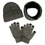 anqier Winter Warm Beanie Hat + Scarf + Touch Screen Knit Gloves 3 Pieces Knitted Set for Men Women(Grey)